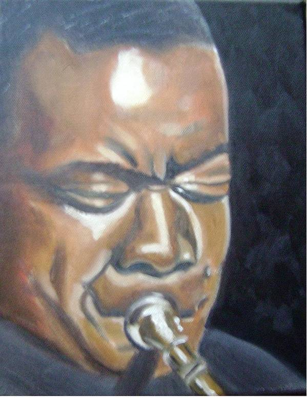 Louis Armstrong Poster featuring the painting Louis Armstrong by Toni Berry