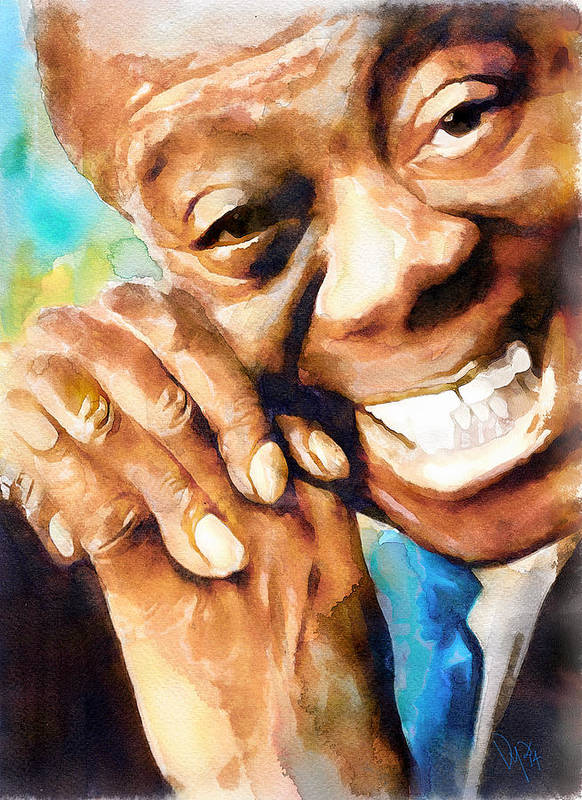Louis Poster featuring the painting Louis Armstrong What A Wonderful World by Vya Artist