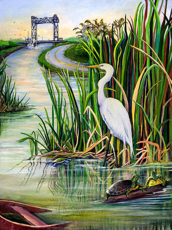 Louisiana Poster featuring the painting Louisiana Wetlands by Elaine Hodges