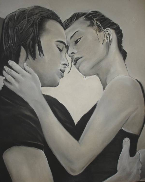 Charcoal Poster featuring the drawing Love and Longing by Kerra Lindsey