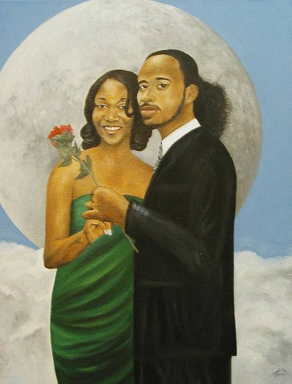 Portrait Poster featuring the painting Love At Full Moon by Angelo Thomas