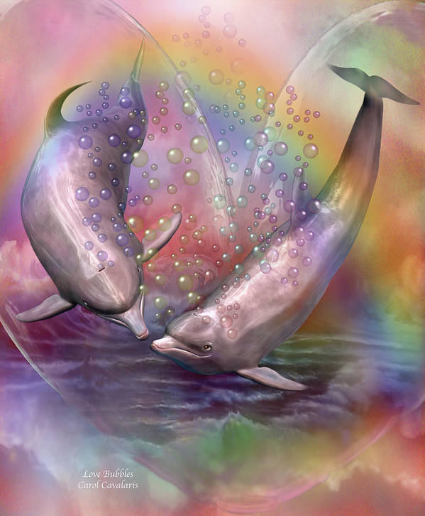 Dolphin Poster featuring the mixed media Love Bubbles by Carol Cavalaris