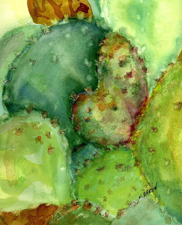 Landscape Poster featuring the painting Love Cactus by Marilyn Barton