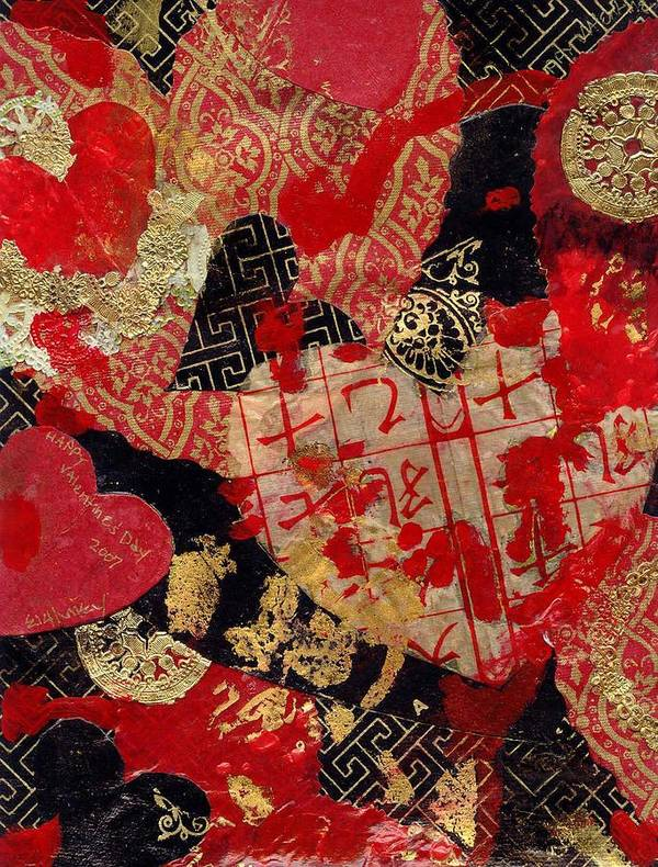 Hearts Poster featuring the mixed media Love by Evelynn Eighmey
