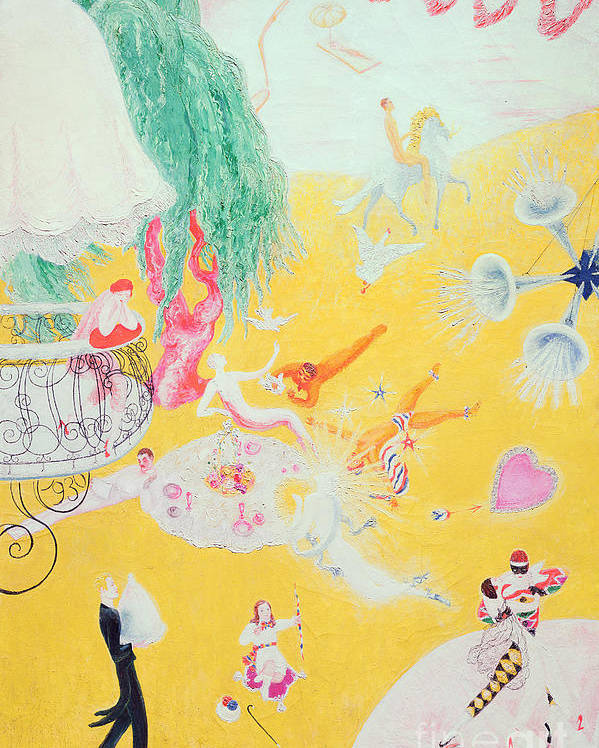 Love Poster featuring the painting Love Flight Of A Pink Candy Heart by Florine Stettheimer