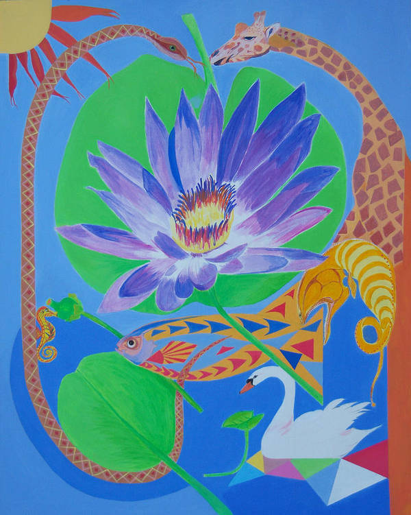 Acrylic Poster featuring the painting Love In The Garden Of Eden by Seema Gill