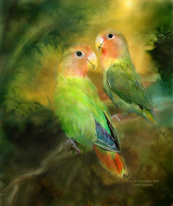 Lovebird Poster featuring the mixed media Love In The Golden Mist by Carol Cavalaris