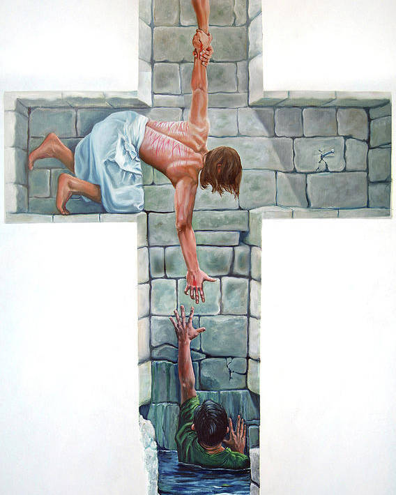 Cross Poster featuring the painting Love by Larry Cole