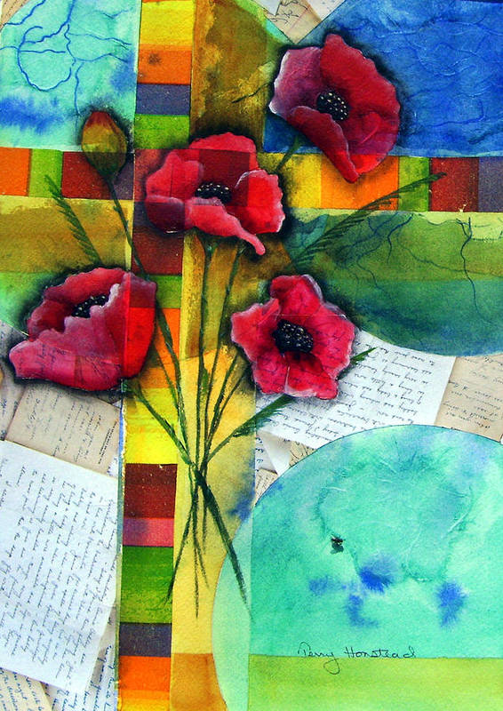 Poppies Abstract Red Collage Papers Acrylic Watercolor Poster featuring the painting Love Letters by Terry Honstead