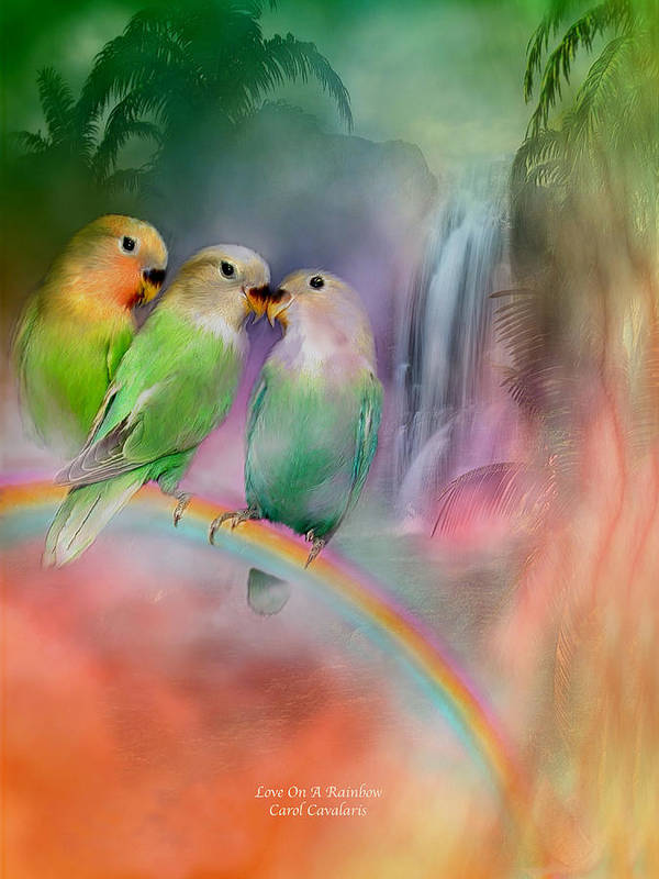 Lovebird Poster featuring the mixed media Love On A Rainbow by Carol Cavalaris