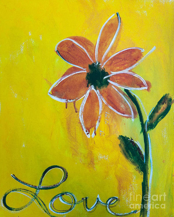 Yellow Poster featuring the painting Love Petals by Annie Mac