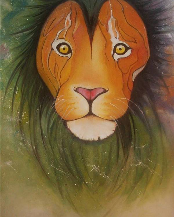 #lion #oilpainting #animal #colorful Poster featuring the painting Lovelylion by Anne Sue