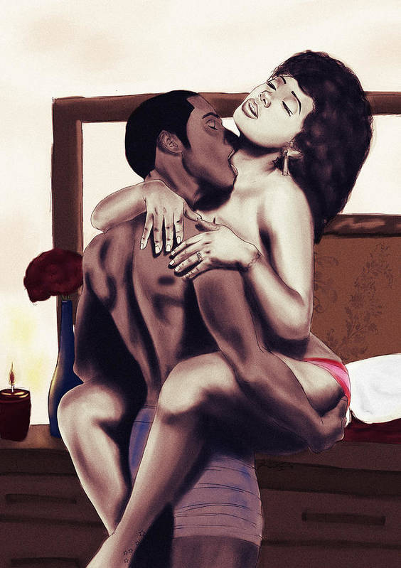 Lovers Poster featuring the painting Lovers Sensual Love by Kenal Louis