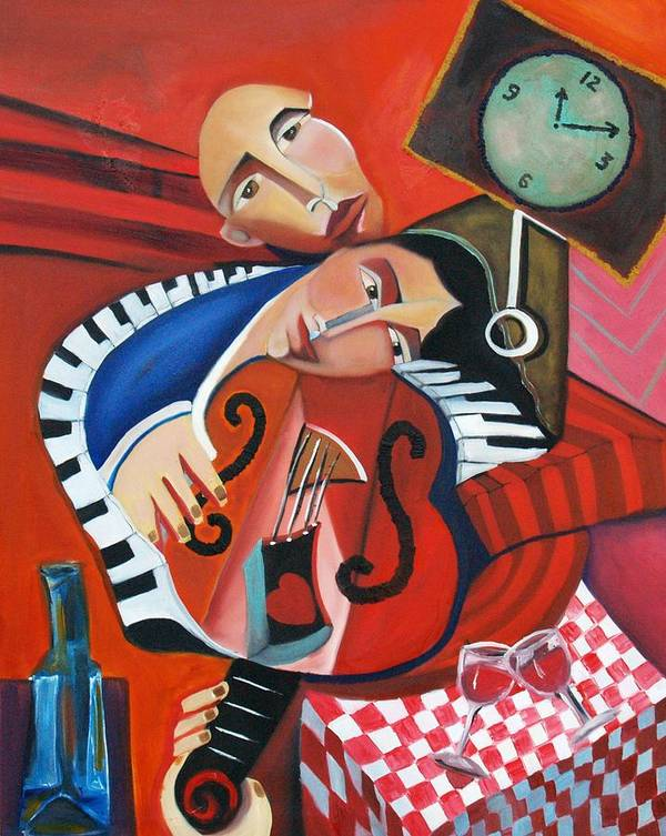 Love Woman Man Time Red Music Violin Piano Wine Romance Cubism Cubist Figurative Abstract Poster featuring the painting Love's Melody by Niki Sands