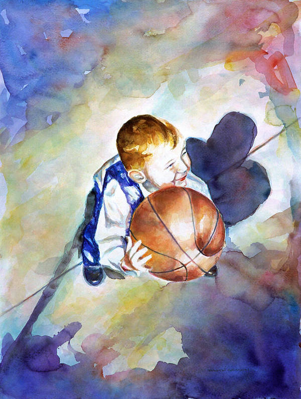 Watercolor Poster featuring the painting Loves the Game by Shannon Grissom