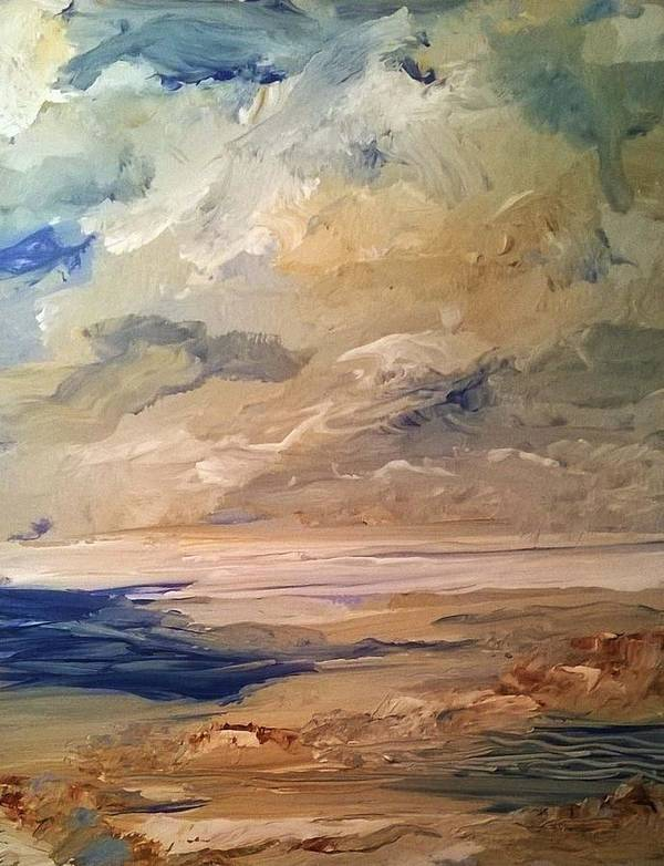 Ocean Poster featuring the painting Low Tide by PJ McNally