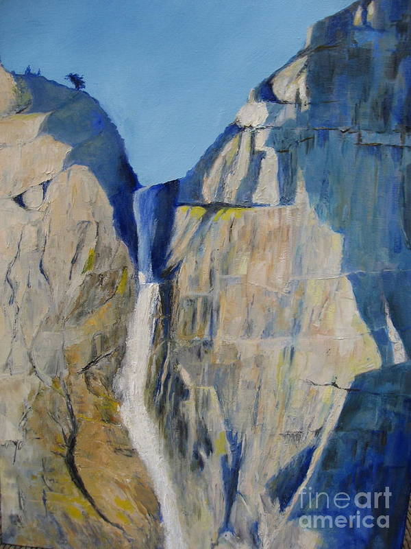 Waterfall Poster featuring the painting Lower Falls, Yosemite by Jackie Carroll