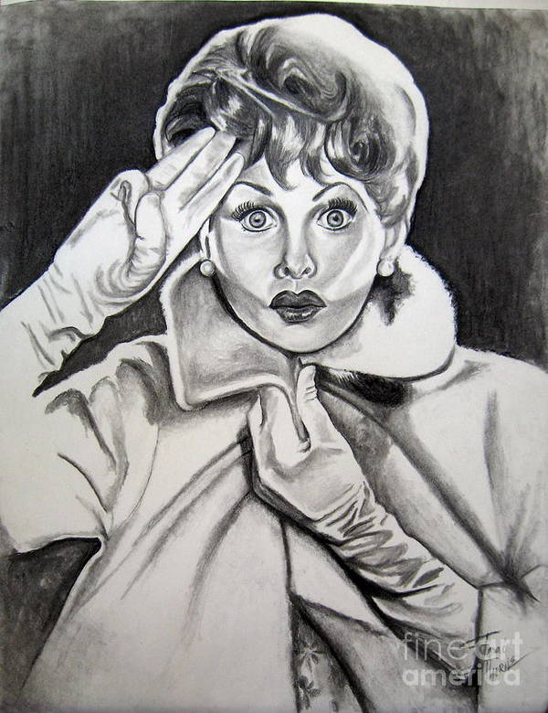 Lucy Portrait Poster featuring the drawing Lucy by Toni Thorne