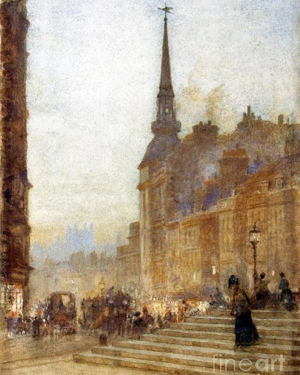 Herbert Menzies Marshall - Ludgate Hill From The Steps Of The Cathedral 1898 Poster featuring the painting Ludgate Hill From The Steps Of The Cathedral by MotionAge Designs
