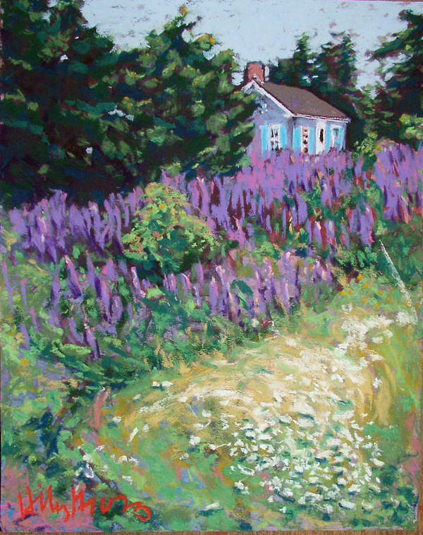 Landscape Poster featuring the painting Lupine Cottage In Maine by Hillary Gross