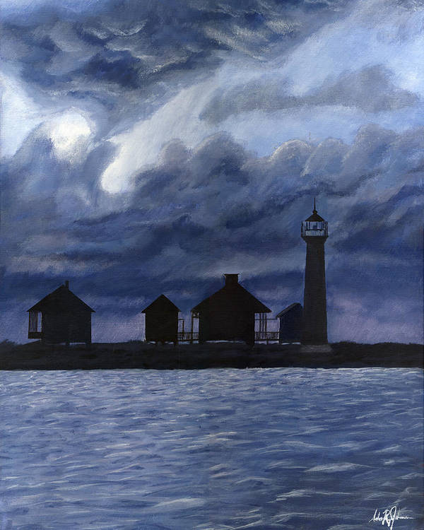 Landscape Poster featuring the painting Lydia Ann Lighthouse by Adam Johnson