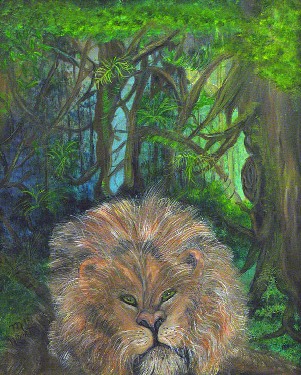 Lion Poster featuring the painting Lying Lion by Mikki Alhart