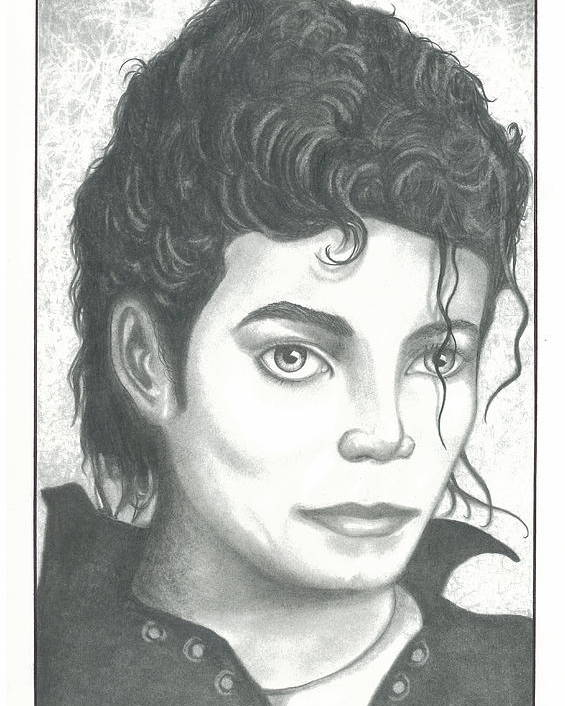 Popart Poster featuring the drawing M. J. by Julian B