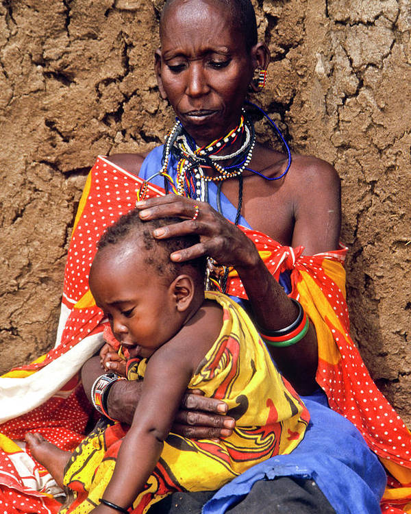 Africa Poster featuring the photograph Maasai Grandmother And Child by Michele Burgess