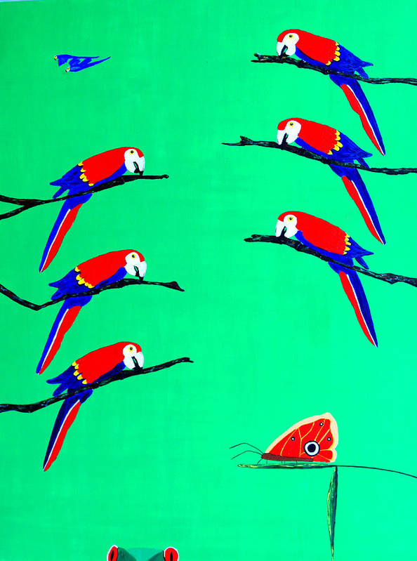 Caribbean Poster featuring the painting Macaw Ladder by Sula Chance