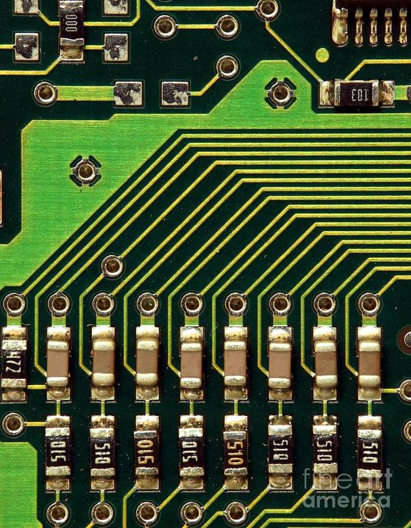 Computer Poster featuring the photograph Macro Image Of A Computer Motherboard by Yali Shi