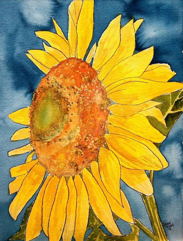 Sunflower Poster featuring the painting Macro Sunflower Art by Derek Mccrea