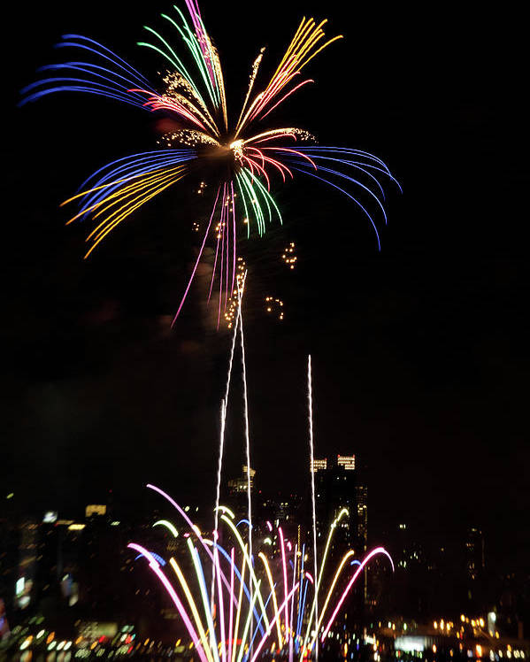 4th Of July Poster featuring the photograph Macy's Fireworks I by David Hahn