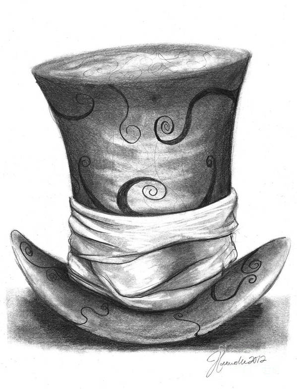 Hat Poster featuring the drawing Mad Hat by J Ferwerda
