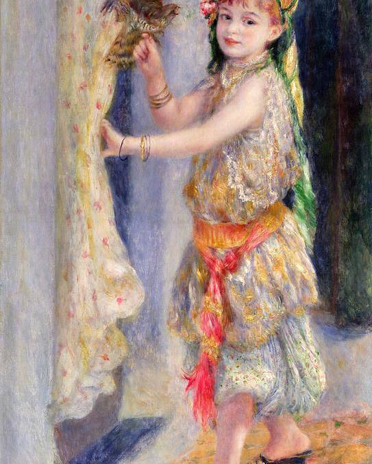 Female; Portrait; Traditional Algerian Costume; Young Girl; Child; Children; Impressionist; Bird; Innocent; Innocence; Fancy Dress Poster featuring the painting Mademoiselle Fleury In Algerian Costume by Pierre Auguste Renoir