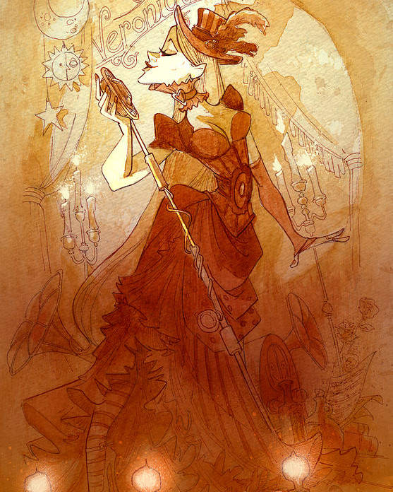 Woman Poster featuring the painting Mademoiselle Veronique by Brian Kesinger