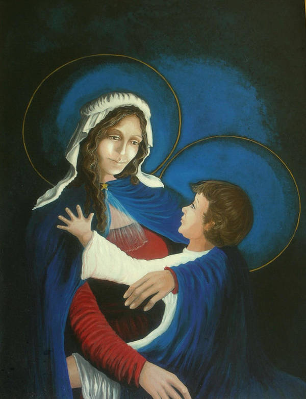 Madonna And Child Poster featuring the painting Madonna and Child by Georgette Backs