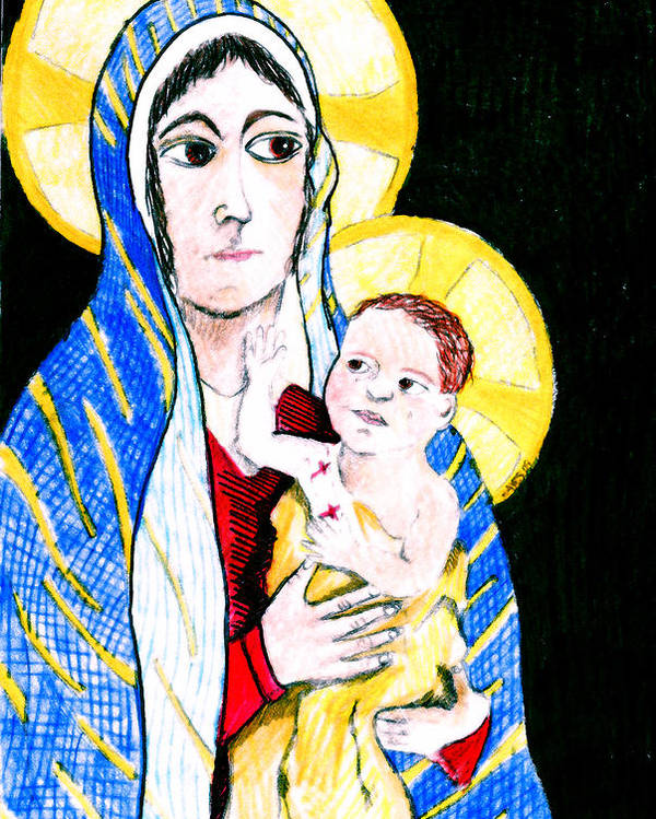 Christ Poster featuring the digital art Madonna And Child by Jame Hayes