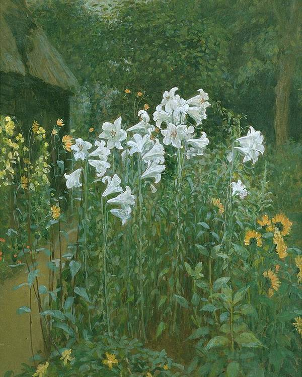 Madonna Poster featuring the painting Madonna Lilies In A Garden by Walter Crane