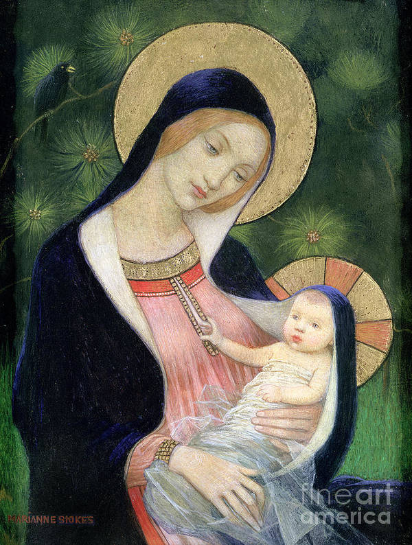 Madonna Of The Fir Tree Poster featuring the painting Madonna Of The Fir Tree by Marianne Stokes