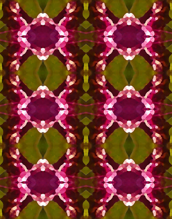 Abstract Poster featuring the painting Magenta Crystal Pattern by Amy Vangsgard