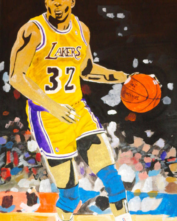 Magic Johnson Poster featuring the painting Magic Johnson by Estelle BRETON-MAYA
