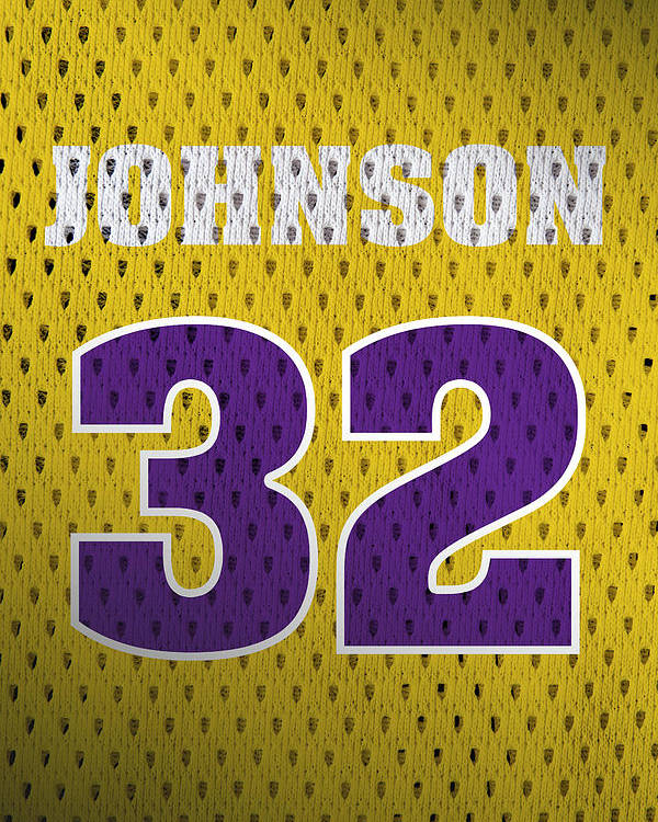 Magic Johnson Los Angeles Lakers Number 32 Retro Vintage Jersey Closeup  Graphic Design Poster