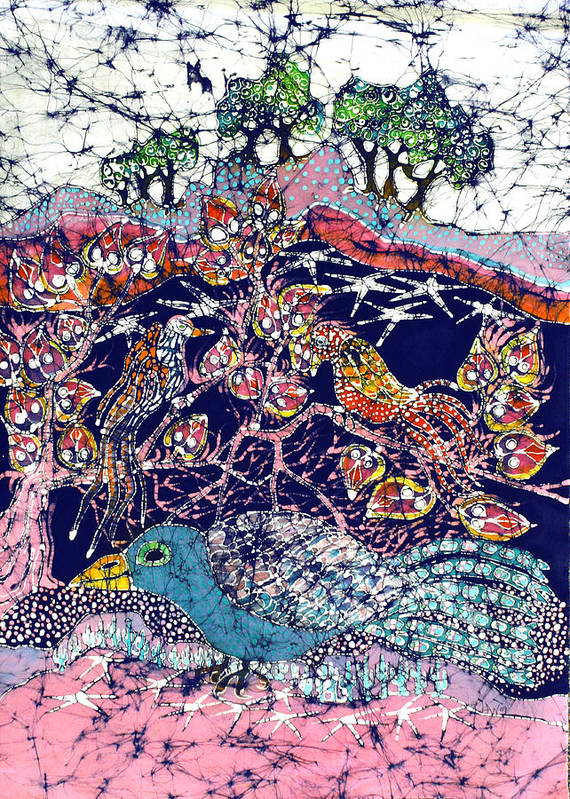 Batik Poster featuring the tapestry - textile Magical Birds by Carol Law Conklin