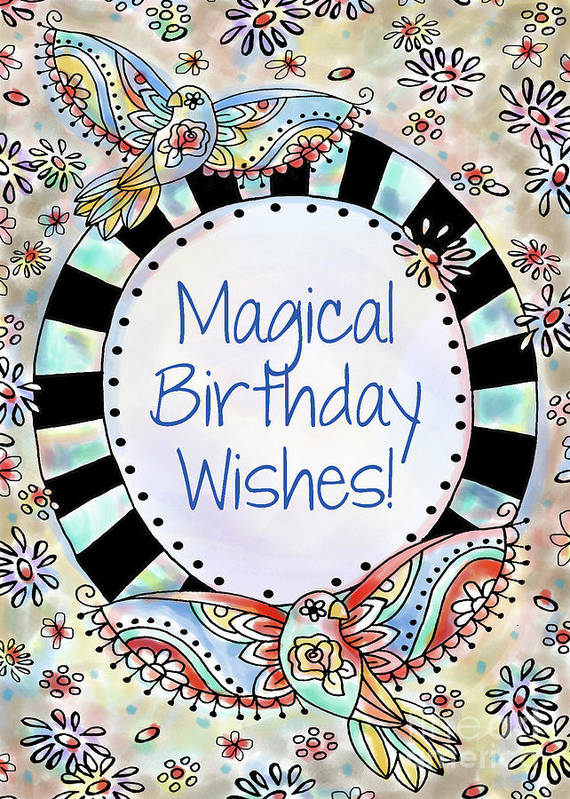 Greeting Cards Poster Featuring The Mixed Media Magical Birthday Wishes By Pam Vale