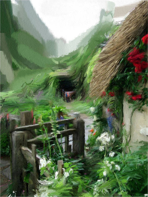 English Poster featuring the painting Magical English Mountain Cottage 2 by Phil Ward