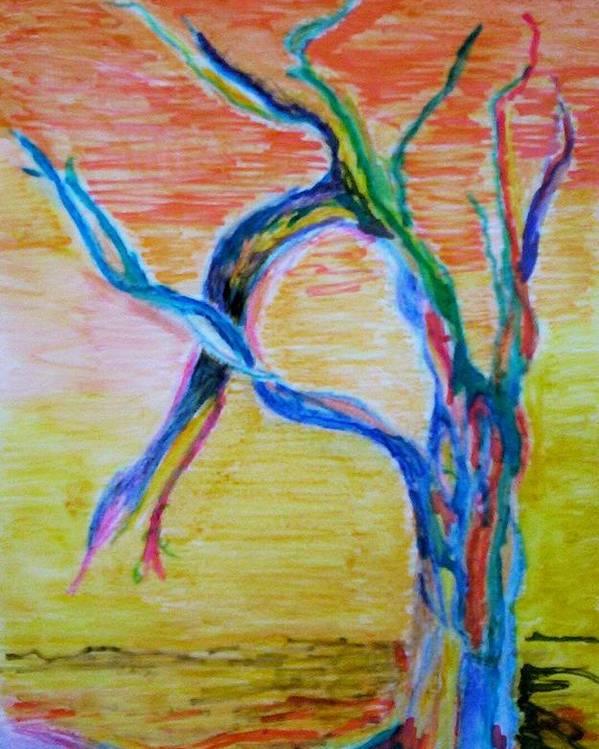 Abstract Painting Poster featuring the painting Magical Tree by Suzanne Udell Levinger