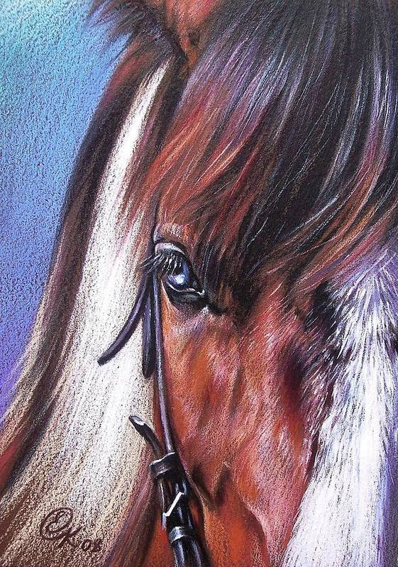 Horse Animal Portrait Drawing Art Poster featuring the drawing Magnificent Paint by Elena Kolotusha
