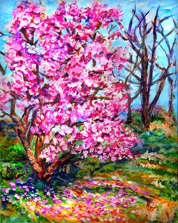 Landscape Poster featuring the painting Magnolia - Early Spring by Laura Heggestad