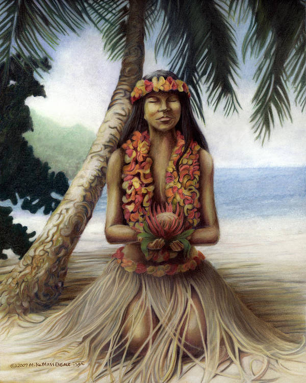 Tropical Art Poster featuring the drawing Mahalo by Mike Massengale