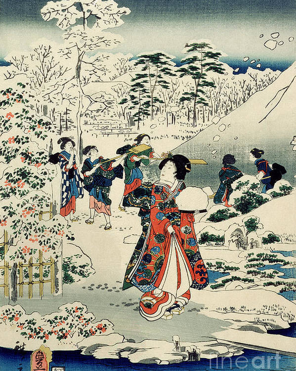 Maids In A Snow-covered Garden Poster featuring the painting Maids In A Snow Covered Garden by Hiroshige
